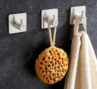 Wholesale kitchen towel hooks wall resale online - Hot Garden Home Self Adhesive Home Kitchen Wall Door Hook Key Rack Kitchen Towel Hanger Stainless steel