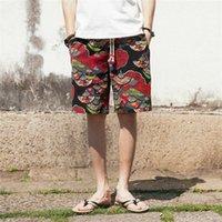 homens de perna larga venda por atacado-Bermuda masculino 2019 dos homens Shorts Wide-breasted Harem algodão de linho largo-perna pijamas soltas Shorts masculino