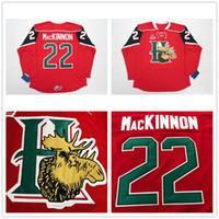 eishockey-trikots logos großhandel-Benutzerdefinierte QMJHL Halifax Mooseheads 2009 Pres 22 Nathan MacKinnon Hockey-Trikot Startseite Rot gestickte Logos bestickt Angepasst