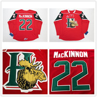 ingrosso casa hockey-Custom QMJHL Halifax Mooseheads 2009 Pres 22 Nathan MacKinnon Hockey jersey Home Red Stitched Logos ricamato Personalizzato