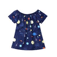 patrón de vestido azul marino al por mayor-Vestido de verano Chica Playa Vestido acogedor Bebé niño pequeño Espacio Universo Patrón Casual Azul marino Nuevo