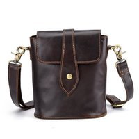 Genuine Leather Mens Bags Male Crossbody Bags Small Flap Casual Messenger  Bag Men s oil wax leather vintage small bag 35d015a692b7b