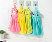 Wholesale glass hot pads resale online - Hot Housekeeping Organization Candy Colors Soft Coral Velvet Cartoon Animal Towel Can Be Hung Kitchen Cleaning Use