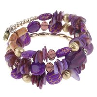 бисер богемский браслет оптовых-1x Woman Bohemian Shell Glass  Multilayer Bracelet Bangle Beach Jewelry