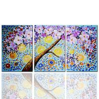 ingrosso riproduzioni d'arte-Gustav Klimt artwork Riproduzione The Tree pittura a olio su tela Digital Spray painting Decorazione murale 3 pezzi