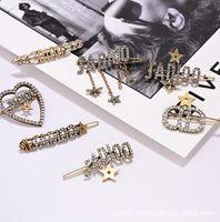 Wholesale rhinestone green brooches resale online - Letter Rhinestone fringe hair clip clip brooch brooch Retro