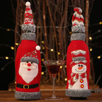 Wholesale suits bags cover for sale - Group buy 2020 Santa Clause Hat Suit Wine Bottle Cover Bags Christmas Ornament Christmas Xmas Party New Year Decoration High Quality