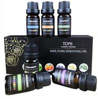 essentielle öle großhandel-6 STÜCKE Ätherisches Öl Set Reine Natürliche Pflanzenaroma Therapeutische Diffusor Luftbefeuchter Wasserlösliche Massage Ätherisches Öl