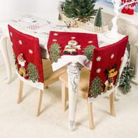 mesa de comedor sillas de tela al por mayor-Cubierta de la silla de Navidad de Santa Claus Elk muñeca navidad dining Tabla trasero de la silla Mantel Decoración Pro