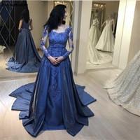 Wholesale button back evening dress resale online - Cheap Prom Dresses Royal Blue Long Sleeves Evening Dresses Scoop Appliques Illusion Buttons Back With Detachable Train