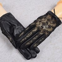 Wholesale sexy gloves men resale online - Sexy Summer Female Lace Genuine Leather Sunscreen Driving Sheepskin Mittens Women Bow Full Finger Touch Screen Phone Glove C11