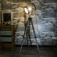 lâmpadas de chão de madeira venda por atacado-Americano Retro industrial LOFT Floor Lamp tripé de madeira Home Decor Led Standing Lamp Bar Escritório Sala Quarto lâmpada de cabeceira