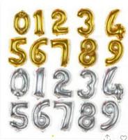 32 balões número polegadas venda por atacado-32 ou 16 POLEGADA Feliz Aniversário Weeding Celebração Balão Decoração balão de Revestimento de alumínio Número 0 A 9 Balão de Prata e Cor de Ouro