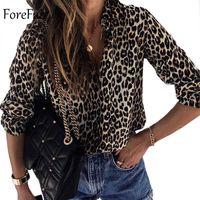 chiffon blusen tier großhandel-Forefair Winter Plus Größe Lose Leopard Bluse Frauen V-ausschnitt Langarm Casual Animal Print Bluse Shirts Frauen Kleidung Y19050501