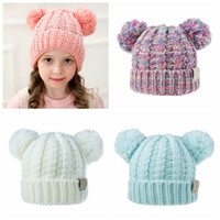Wholesale color fedora resale online - Children cute crochet hats solid pure color baby girls and boys knitting caps kids winter warm hat