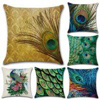 tavuskuşu davaları toptan satış-Peacock Feather Baskılı Keten Yastık Kılıfı Çiçek Hayvan Kuş Yastık Araba Kanepe Ev Dekorasyon Aksesuarları için Dekoratif Kapakları