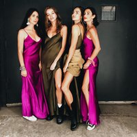 6f5f21ded39 2019 Sexy Club Women Dress Red Black Purple Blue Satin Silky Fabrics V-neck  New Lady Slip Backless Long Dress Halter Top Ladies