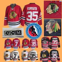 jersey de blackhawks vintage al por mayor-Tony Esposito Jersey 1988 Salón de la Fama Patch 7 35 Hockey sobre hielo Chicago Blackhawks Jerseys CCM Vintage White Navy Local lejos