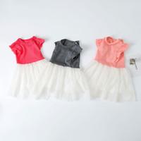 balo elbisesi kabarcık elbiseleri toptan satış-Kızlar Prenses Elbiseler Bebek Çocuk Balo Tutu Yaz Fly Kollu Pamuk Dantel Kabarcık Krep Parti Tek parça 70 cm-110 cm