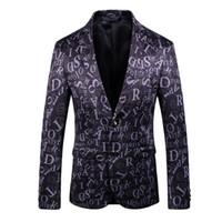 Wholesale mens buttons resale online - New Mens designer Men Clothing Luxury Designer Mens Blazer letter print Jacket Stylish Fancy Brand floral Males button Slim Suits Blazers