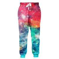 jogger sweatpants stars toptan satış-Renkli Galaxy Yıldız Joggers Pantolon Erkek Kadın 3D Baskı Pantolon Sonbahar Kış Pantolon Rahat Kadın Erkek Pantolon Unisex Sweatpants