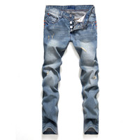 Wholesale style spring fashionable for sale - Group buy 2019 Slim Fit Spring New Jeans Button Straight Style Male Fashionable Ripped Pants Mens Clothing Apparel