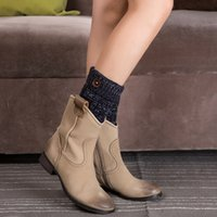 Wholesale decorative boots resale online - 1 Pair Women Short Button Decorative Thermal Acrylic Knitted Boot Cuffs Yoga Socks Cover Shoe Boot Socks