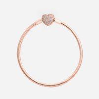 verdadeiras pulseiras de ouro para mulheres venda por atacado-Mulheres Moda de Luxo Real Rose Banhado A Ouro Amor Coração CZ diamante Pulseira Cadeia de Mão caixa Original para Pandora Cadeia de Cobra Pulseira