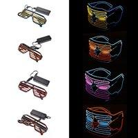 gafas de novedad intermitentes al por mayor-4 colores de la novedad LED Gafas Light Up Shades intermitente luminoso Rave Night Navidad actividades de boda de cumpleaños decoración de la fiesta