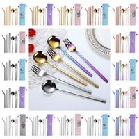 cartoon colher garfo conjunto venda por atacado-304 de aço inoxidável portátil Faqueiro Chopsticks Fork Colher de palha 8 Pcs / Define criativa dos desenhos animados do curso talheres Set T9I00275