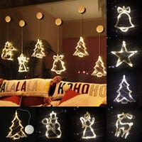 sinos de natal iluminados venda por atacado-Natal Otário luzes LED Feriado Bell Anjo do boneco de neve sugam de suspensão Luzes Cordas Bateria Indicador do Natal Otário Luzes