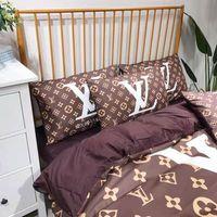 ingrosso biancheria da letto cinese satinata-Lettera Towe Little Logo Velluto Bedding Suit Moda PRIMAVERA ESTATE COTONE Copripiumino Confortevole 4 PZ Set di lenzuola
