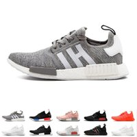 Wholesale best flat boots shoe resale online - 2019 new NMD R1 OG Primeknit Running Shoes Classic Triple Red Black Best Quality Men Women Sport Shoes Designer Sneakers Trainers size