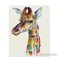 Wholesale painted giraffe resale online - Real Handpainted HD Print Giraffe Abstract Animal Art Oil painting On Canvas Wall Art Home Deco Multi size Frame Option a103
