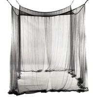 redes de cama venda por atacado-New 4-Corner Cama Rede Canopy Mosquiteiro para Rainha / King Size Cama de 190 * 210 * 240 cm (Preto) Cama Mosquiteiro