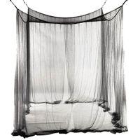couvert de moustiquaire pour les lits achat en gros de-Nouvelle moustiquaire pour moustiquaire à 4 angles pour lit queen / king size 190 * 210 * 240cm (noir) lit moustiquaire
