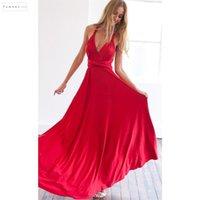 rote brautjungfer reich kleider großhandel-Sexy Summer Long DressBridesmaid Multi Way Wrap Convertible Maxi Red Kleider Party aushöhlen Empire Liebsten Vestidos Designerkleidung