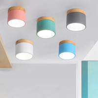 deckenleuchte wohnzimmer groihandel-DHL Nordic Eisen, Holz, Deckenleuchten Moderne LED-Deckenleuchte für Wohnzimmer Schlafzimmer Leuchte Porch Aisle Korridor Beleuchtung