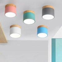 modern tavan yatak odası toptan satış-Salon Yatak odası Armatür Sundurma Koridor Koridor Işıklandırma için DHL Nordic Demir Ahşap Tavan Işıklar Modern Led Tavan Lambası