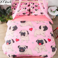 Wholesale pink girls bedding full for sale - XYZLS Pink Girl Dogs Queen Cotton Bedding Set Heart Pug Bed Linings Twin Single Puppy Bedclothes Double King Pets Bedding Kit