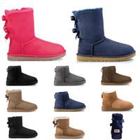 siyah cizmeler toptan satış-UGG Ucuz tasarımcı Avustralya kadınlar klasik kar botları ayak bileği kısa yay kürk boot kış siyah Kestane moda kadın ayakkabı için boyutu 36-41