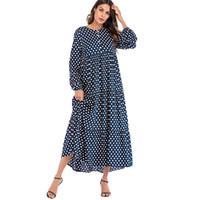 mulheres coreanas vestidos venda por atacado-Moda coreano Polka Dot Impressão Vintage Vestido Mulheres Maxi Longo Vestido Plissado Manga Comprida Vestidos Praia Boho Vestidos Plus Size 5xl 3xl Y19050805