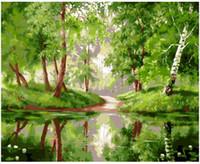 ingrosso legno verniciato a olio-Dipinto a mano adulta Dipinto a mano con i numeri Kit di pittura ad olio Paint-Green riverside woods 16
