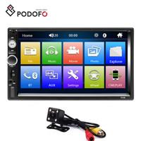 jogador traseiro venda por atacado-Rádio do carro de Podofo Autoradio 2 Din 7 '' tela de toque HD Bluetooth FM USB AUX carro SD DVD + 4 LED câmera de visão traseira