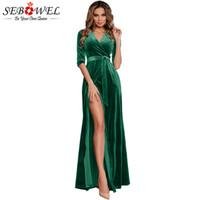 ingrosso abito blu maxi velluto-vendita all'ingrosso Sexy Green Velvet Party Dress Women Elegante High Split Maxi Abito in velluto con cintura abito da sera formale lungo nero blu