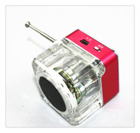 rosa mp3 musik großhandel-Digitaler Lautsprecher Mini Tragbare Musik MP3 / 4 Player Micro SD / TF USB FM Radio Rot Blau Grün Silber Rosa