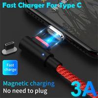 iphone cabo vermelho venda por atacado-Cabo magnético Micro USB Tipo C para iPhone Lightning Cable 1M 3A Carregador rápido USB-C Tipo-C Carregador para Samsung NOTE10 +