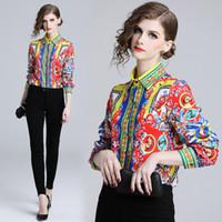 kaliteli bayan bluzları toptan satış-Bayanlar Vintage Bluz Ofis Gömlek Bayan Slim Fit Bluzlar Pist Tasarımcısı Tops Kalite Kadınlar Moda Blusas Mujer Tops