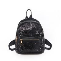Wholesale women bling backpack resale online - Women Sequins Backpack Glitter Bling School Bag Rucksack New Shoulders Bag Cute Casual Travel Girls Backpack