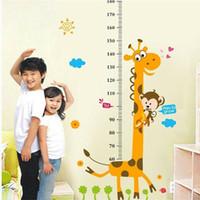 zürafa duvar etiketi yükseklik çizelgesi toptan satış-Çıkarılabilir Yükseklik Grafik Tedbir Duvar Sticker Çıkartması Çocuk Bebek Odası için Zürafa